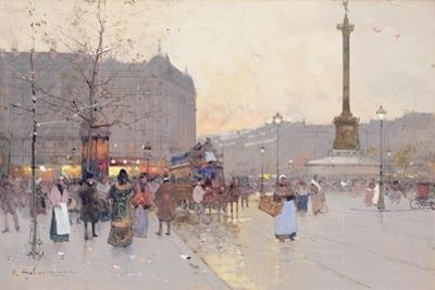 Figures in the Place De La Bastille by Eugene Galien-Laloue