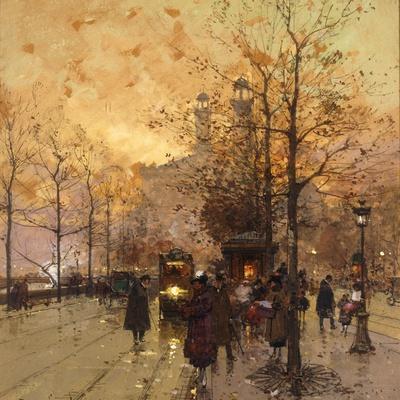 Figures on a Parisian Street at Dusk