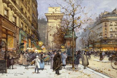 Figures on Le Boulevard St by Eugene Galien-Laloue