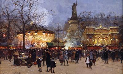La Fete, Place de la Republique, Paris by Eugene Galien-Laloue
