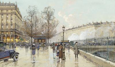 Le Boulevard Pereire, Paris by Eugene Galien-Laloue