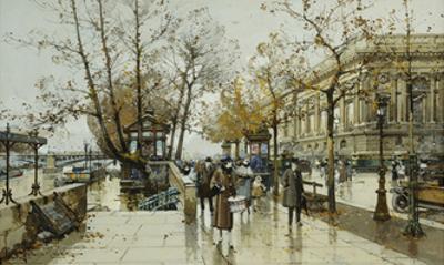 Le Quai de Louvre, Paris by Eugene Galien-Laloue
