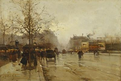 Les Boulevards, Paris by Eugene Galien-Laloue