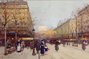 Les Champs Elysees, Paris by Eugene Galien-Laloue