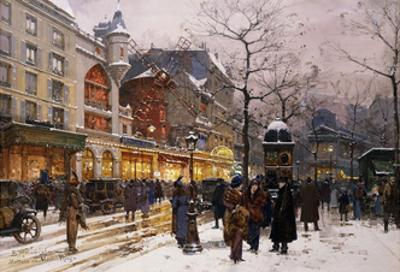 Matinee au Moulin Rouge, Paris. by Eugene Galien-Laloue