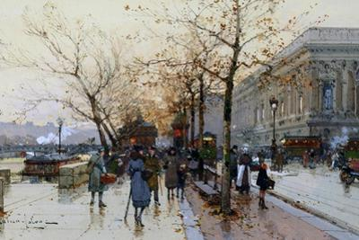 Near the Louvre, Paris by Eugene Galien-Laloue