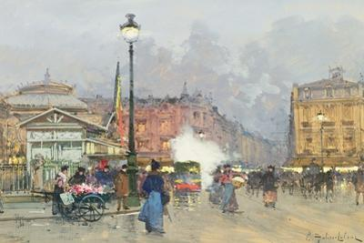 Place De L'Opera, Paris by Eugene Galien-Laloue