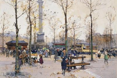 Place De La Bastille, Paris by Eugene Galien-Laloue