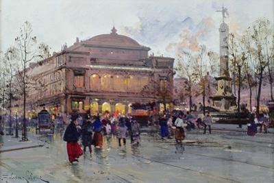 Place Du Chatelet by Eugene Galien-Laloue
