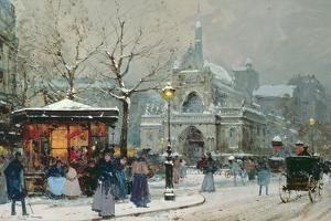 Snow Scene in Paris by Eugene Galien-Laloue