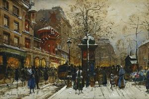 The Moulin Rouge, Paris by Eugene Galien-Laloue