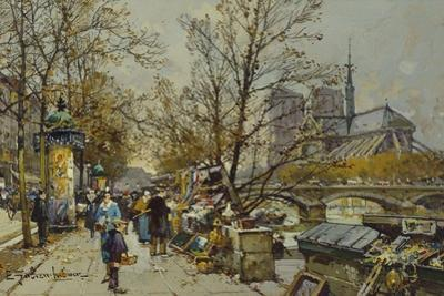 The Rive Gauche, Paris, with Notre Dame Beyond by Eugene Galien-Laloue