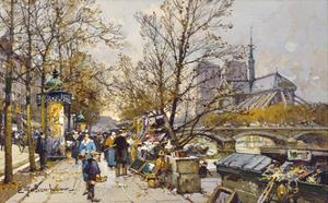 The Rive Gauche, Paris with Notre Dame beyond by Eugene Galien-Laloue