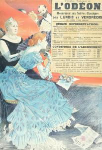 Advertisement for the Odeon Theatre, 1890 (Colour Litho) by Eugene Grasset