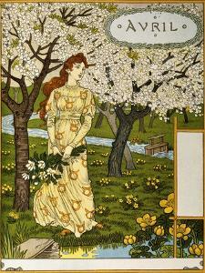 April, Illustration from the Fine Art Portofolio 'Le Mois', 1896 by Eugene Grasset