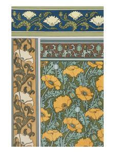 Poppies Wallpaper, Chromo-Lithograph, London, England, 1897 by Eugene Grasset