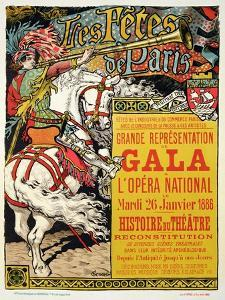 """Reproduction of a Poster Advertising the """"Fetes de Paris"""", at the Opera National, Paris, 1885 by Eugene Grasset"""