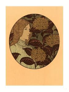 Roundel Portrait of a Girl, French, 1841 1917, Lithograph in Green, Black, and Gold by Eugene Grasset