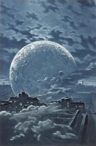 Surreal Image of the Moon Over le Champ-De-Mars in Paris by Eugene Grasset