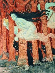Three Women and Three Wolves (W/C) by Eugene Grasset