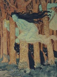 Three Women and Three Wolves by Eugene Grasset