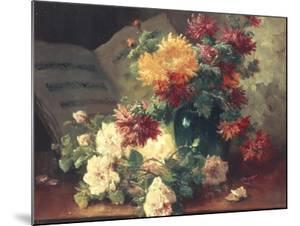 Chrysanthemums and Roses by Eugene Henri Cauchois