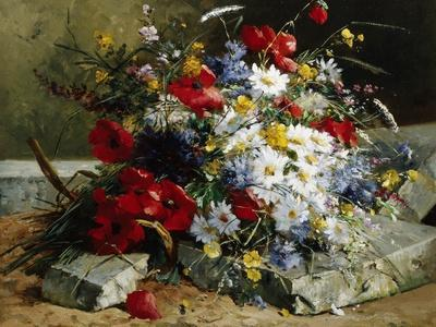Still Life with Poppies and Daisies E-H Cauchois Print