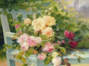 Roses on the Bench by Eugene Henri Cauchois