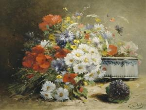 Still Life of Cornflowers, Poppies and Violets by Eugene Henri Cauchois