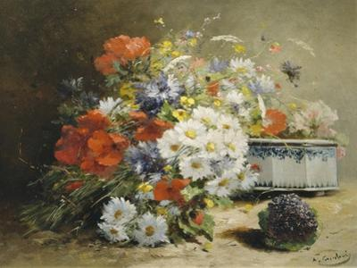 Still Life of Cornflowers, Poppies and Violets