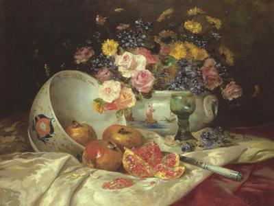 Still Life of Flowers in a Chinese Vase with Pomegranates