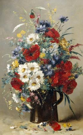 Still Life of Poppies, Daisies and Cornflowers