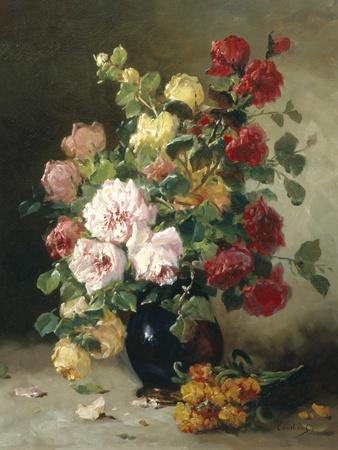 Still Life of Roses and Wallflowers