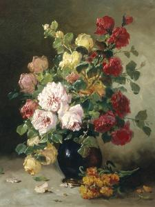 Still Life of Roses and Wallflowers by Eugene Henri Cauchois