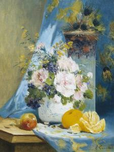 Still Life of Roses with an Orange by Eugene Henri Cauchois