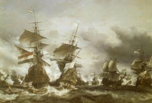 Combat du Texel le 29 juin 1694, victoire de Jean Bart sur l'escadre hollandaise de l'amiral de by Eugène Isabey