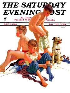 """""""After a Swim,"""" Saturday Evening Post Cover, July 21, 1934 by Eugene Iverd"""