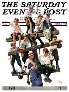 """Baseball Fans,"" Saturday Evening Post Cover, October 1, 1927 by Eugene Iverd"