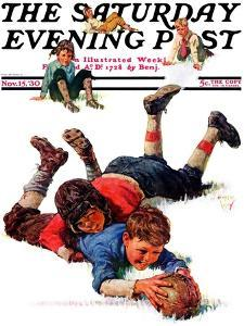 """Big Tackle,"" Saturday Evening Post Cover, November 15, 1930 by Eugene Iverd"
