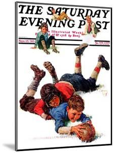 """""""Big Tackle,"""" Saturday Evening Post Cover, November 15, 1930 by Eugene Iverd"""