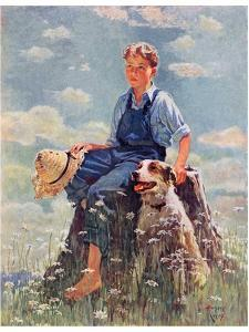 """Boy and Dog in Nature,""June 11, 1932 by Eugene Iverd"