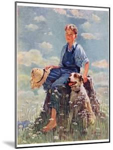 """""""Boy and Dog in Nature,""""June 11, 1932 by Eugene Iverd"""