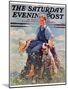 """""""Boy and Dog in Nature,"""" Saturday Evening Post Cover, June 11, 1932 by Eugene Iverd"""