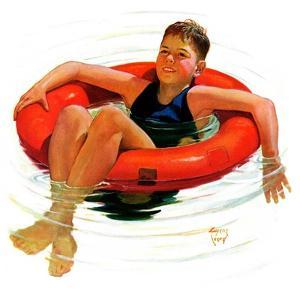 """""""Boy in Inner Tube,""""August 1, 1936 by Eugene Iverd"""