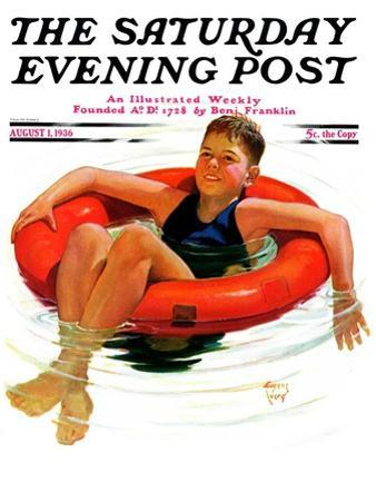 """""""Boy in Inner Tube,"""" Saturday Evening Post Cover, August 1, 1936"""