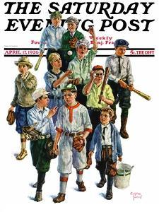 """""""Boy's Baseball Team,"""" Saturday Evening Post Cover, April 17, 1926 by Eugene Iverd"""