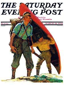 """Canoe Portage,"" Saturday Evening Post Cover, March 24, 1934 by Eugene Iverd"