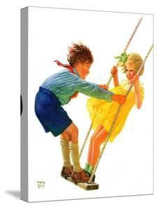 """""""Children on Swing,""""June 22, 1935 by Eugene Iverd"""
