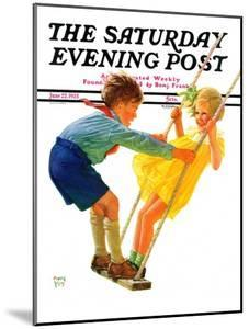 """""""Children on Swing,"""" Saturday Evening Post Cover, June 22, 1935 by Eugene Iverd"""