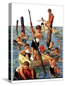 """""""Crowd of Boys Swimming,""""July 28, 1928 by Eugene Iverd"""